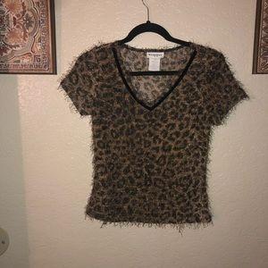 Wrapper fuzzy leopard crop top